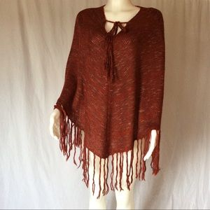 Love Tree Red Knit Poncho Wrap with Fringe